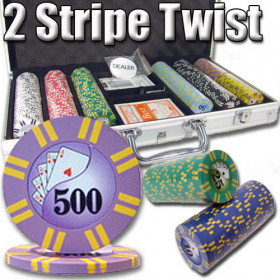 2 Stripe Twist 300pc 8G Poker Chip Set w/Aluminum Case