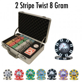 2 Stripe Twist 300pc 8G Poker Chip Set w/Claysmith Aluminum Case