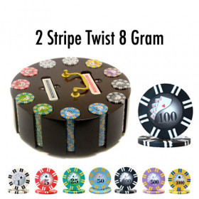 2 Stripe Twist 300pc 8G Poker Chip Set w/Wooden Carousel