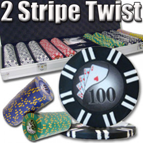 2 Stripe Twist 500pc 8G Poker Chip Set w/Aluminum Case
