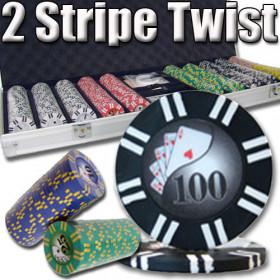 2 Stripe Twist 500pc 8G Poker Chip Set w/Aluminum Case