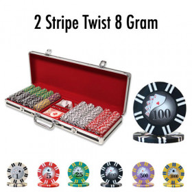 2 Stripe Twist 500pc 8G Poker Chip Set w/Black Aluminum Case