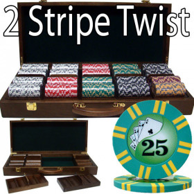 2 Stripe Twist 500pc 8G Poker Chip Set w/Walnut Case