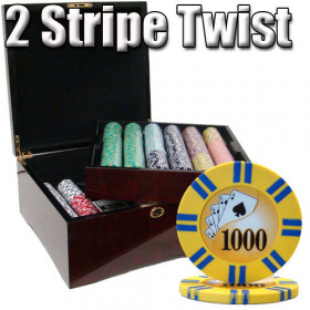 2 Stripe Twist 750pc 8G Poker Chip Set w/Mahogany Case