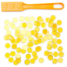 100 Yellow Magnetic Bingo Marker Chips with Magnetic Wand