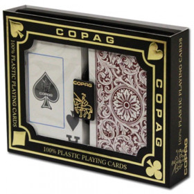COPAG Plastic Playing Cards, Green/Burgundy, Bridge Size, Jumbo Index