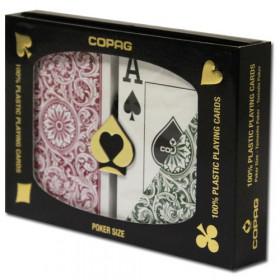 COPAG Plastic Playing Cards, Green/Burgundy, Poker Size, Jumbo Index