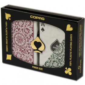 COPAG Plastic Playing Cards, Green/Burgundy, Poker Size, Regular Index