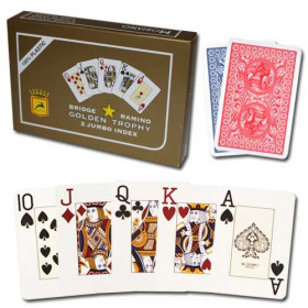 Modiano Golden Trophy Plastic Playing Cards, Red/Blue, Poker Size, Jumbo Index