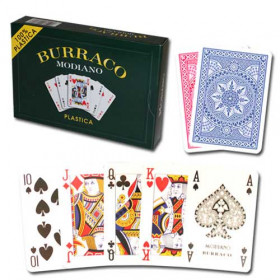 Modiano Burraco Plastic Playing Cards, Red/Blue, 4 PIP