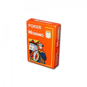 Modiano Cristallo Plastic Playing Cards, Orange, Poker Size 4PIP Jumbo Index