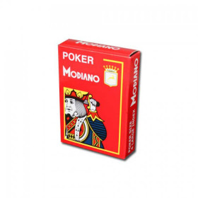 Modiano Cristallo Plastic Playing Cards, Red, Poker Size 4PIP Jumbo Index