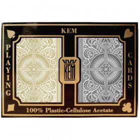 KEM Arrow Plastic Playing Cards, Black/Gold, Bridge Size, Jumbo Index
