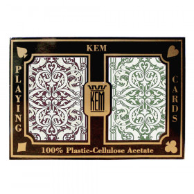 KEM Jacquard Plastic Playing Cards, Green/Burgundy, Poker Size, Regular Index