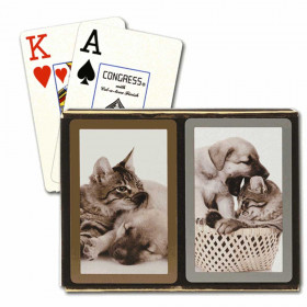 Congress Cat & Dog Bridge Playing Cards - Jumbo Index