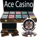 Ace Casino 14 Gram 500pc Poker Chip Set w/Walnut Case